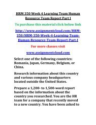 UOP HRM 350 Week 4 Learning Team Human Resource Team Report Part I