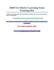 UOP HRM 531 Week 5 Learning Team Training Plan