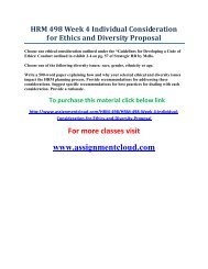 UOP HRM 498 Week 4 Individual Consideration for Ethics and Diversity Proposal