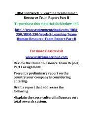 UOP HRM 350 Week 5 Learning Team Human Resource Team Report Part II