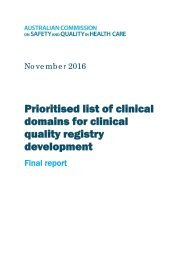 domains for clinical quality registry development