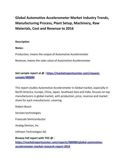 Global Automotive Accelerometer Market Size, Share, industry