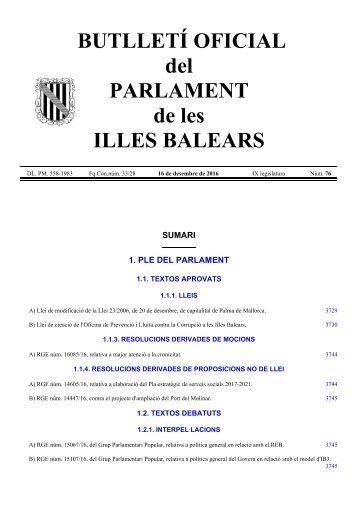 BUTLLETÍ OFICIAL del PARLAMENT de les ILLES BALEARS