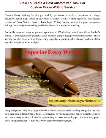 The Most Effective Method To Create A Best Customized Task For Custom Essay Writing Service