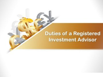 Duties of a Registered Investment Advisor