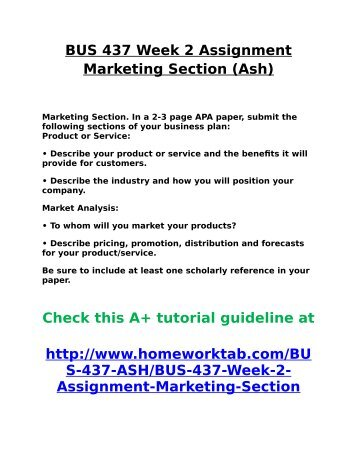 BUS 437 Week 2 Assignment Marketing Section Ash
