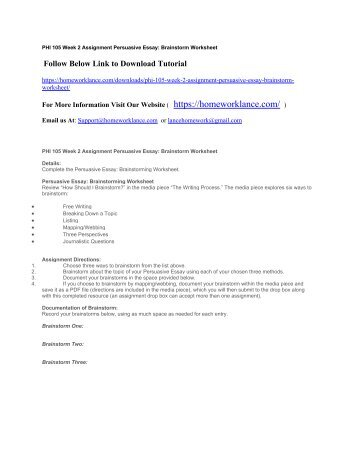 brainstorm worksheet