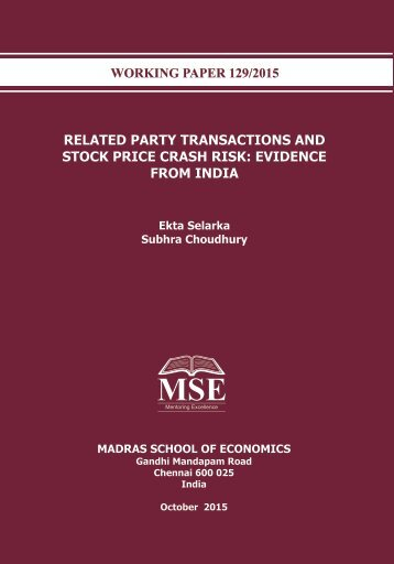RELATED PARTY TRANSACTIONS AND STOCK PRICE CRASH RISK EVIDENCE FROM INDIA