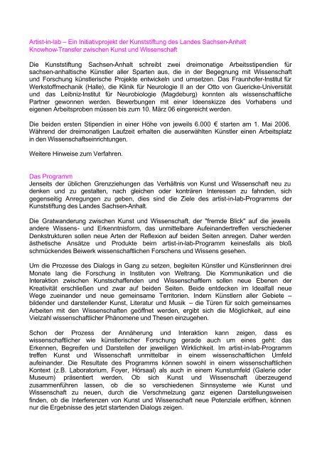 Artist-in-lab – Ein Initiativprojekt der Kunststiftung des Landes ...