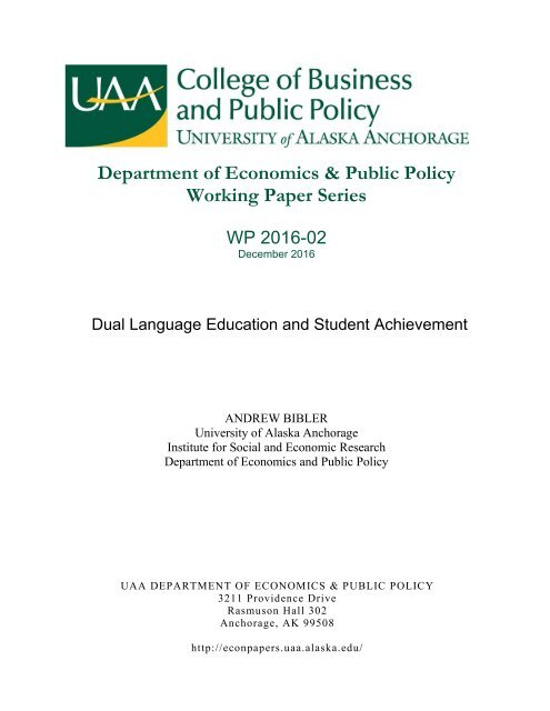 Department of Economics & Public Policy Working Paper Series