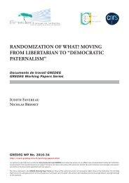 "Randomization of What? Moving from Libertarian to ""Democratic Paternalism"""