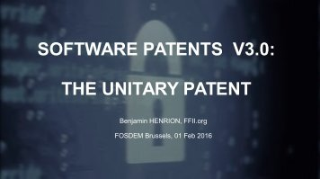 SOFTWARE PATENTS V3.0 THE UNITARY PATENT