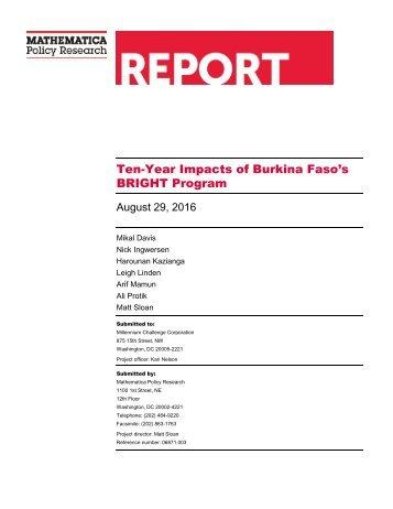 Ten-Year Impacts of Burkina Faso's BRIGHT Program