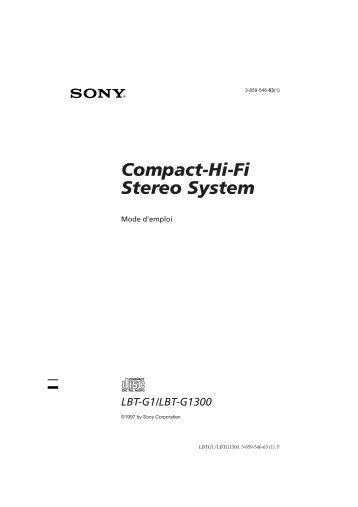 Sony LBT-G1 - LBT-G1 Istruzioni per l'uso Francese