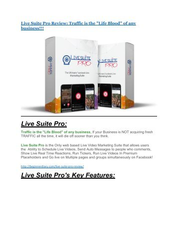 Live Suite Pro Review and Premium $14,700 Bonus