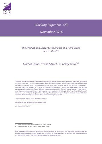 Working Paper No 550 November 2016