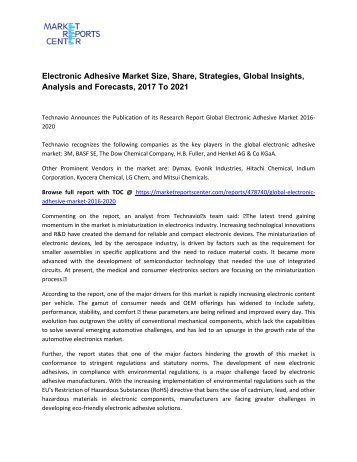 Electronic Adhesive Market Size, Share, Analysis and Forecasts, 2017 To 2021