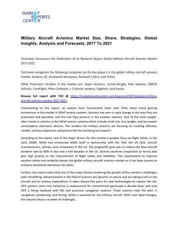 Military Aircraft Avionics Market Size, Share, Analysis and Forecasts, 2017 To 2021