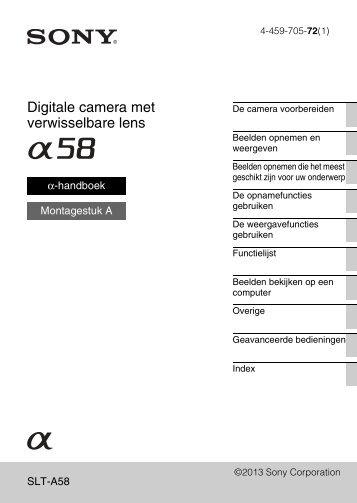 Sony SLT-A58K - SLT-A58K Istruzioni per l'uso Olandese