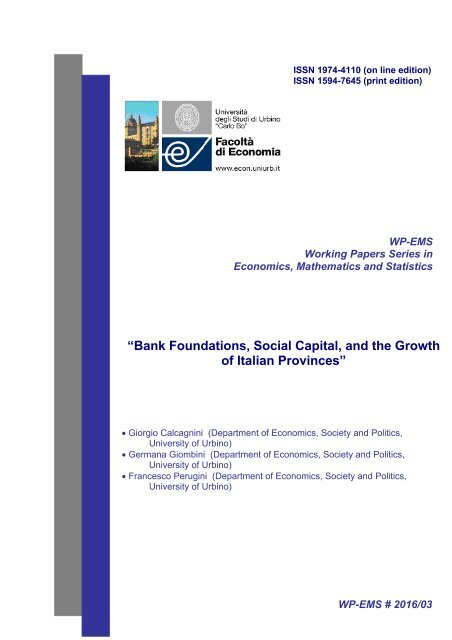 """Bank Foundations Social Capital and the Growth of Italian Provinces"""