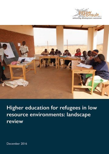 Higher education for refugees in low resource environments landscape review