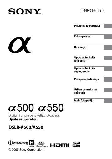 Sony DSLR-A500 - DSLR-A500 Istruzioni per l'uso Croato