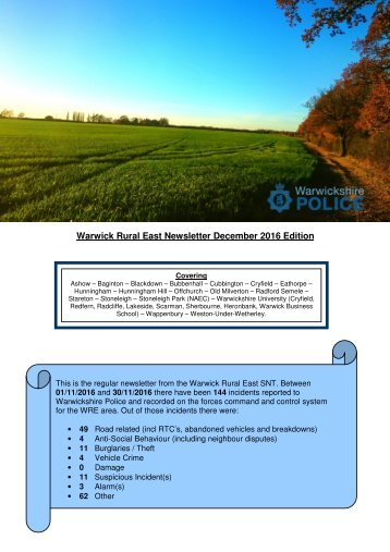 Warwick Rural East Newsletter December 2016 Edition