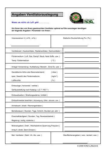 Angaben Ventilatorauslegung - Ventilatoren von KONZ