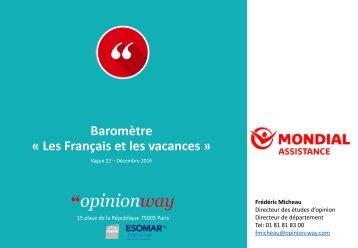 Baromètre « Les Français et les vacances »