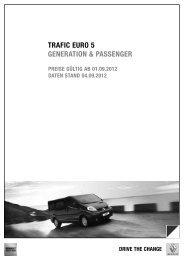 Preise Trafic Generation - bei Renault Skala