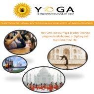 Yoga Teacher Training program in Melbourne or Sydney
