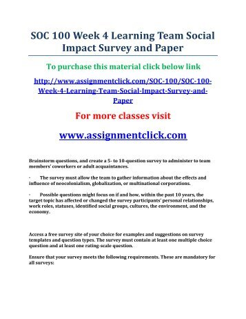 soc 100 week 4 learning team assignment social impact survey and