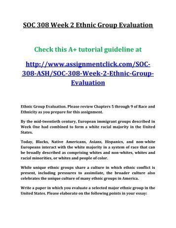 ASH SOC 308 Week 2 Ethnic Group Evaluation