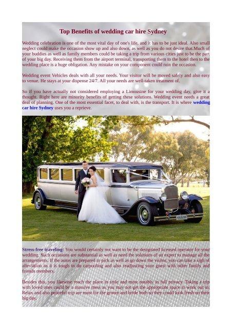 Top Benefits Of Wedding Car Hire Sydney