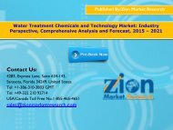 Water Treatment Chemicals and Technology Market, 2015 - 2021