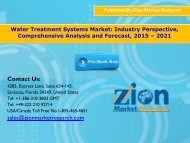 Water Treatment Systems Market, 2015 - 2021
