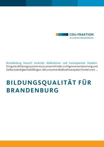 BrandenBurg BrauCht konkrete MassnahMen und konsequentes ...