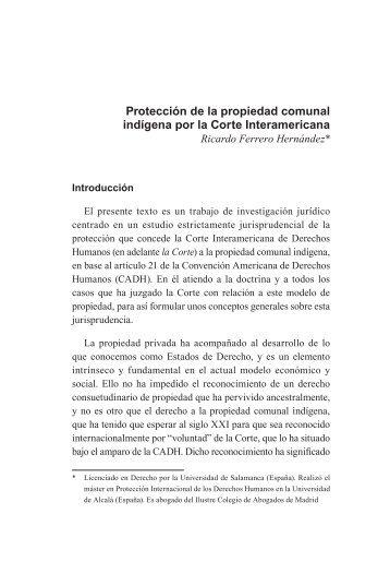 Protección de la propiedad comunal indígena por la Corte Interamericana