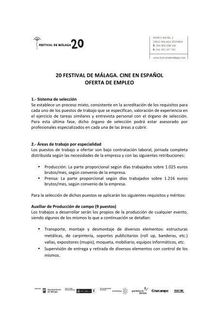 20 Festival De Málaga Cine En Español Oferta De Empleo