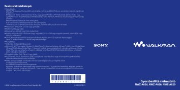 Sony NWZ-A829 - NWZ-A829 Istruzioni per l'uso Ungherese