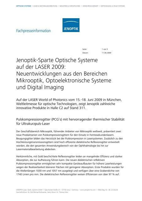Jenoptik-Sparte Optische Systeme auf der LASER 2009 - PresseBox