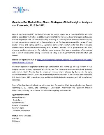 Quantum Dot Market Size, Share, Strategies, Global Insights, Analysis and Forecasts, 2016 To 2022