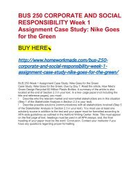 BUS 250 CORPORATE AND SOCIAL RESPONSIBILITY Week 1 Assignment Case Study- Nike Goes for the Green
