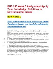 BUS 250 Week 3 Assignment Apply Your Knowledge- Solutions to Environmental Issues