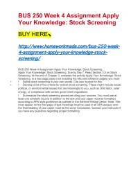BUS 250 Week 4 Assignment Apply Your Knowledge- Stock Screening