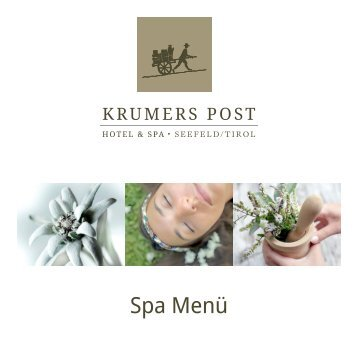 SPA Menü | Krumers Post Hotel & SPA, Seefeld in Tirol
