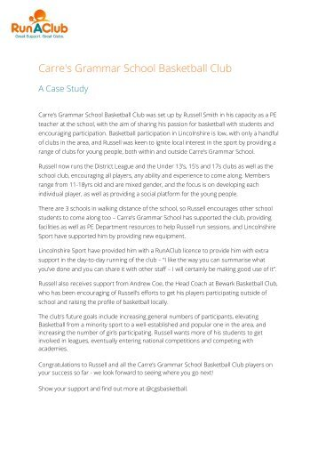Carre's Basketball Club Case Study