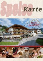 Speisekarte Hotel Hochzillertal, Kaltenbach