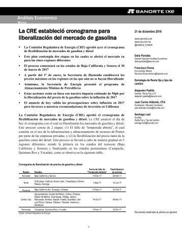 La CRE estableció cronograma para liberalización del mercado de gasolina
