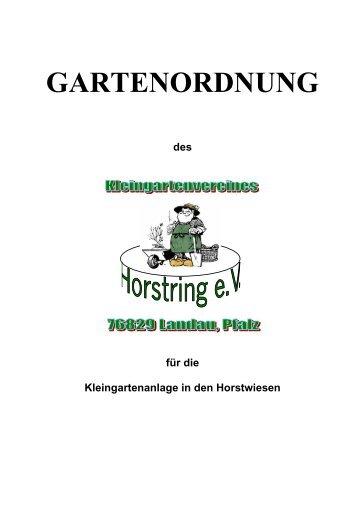 GARTENORDNUNG - Kleingarten im Horst, Landau/Pfalz